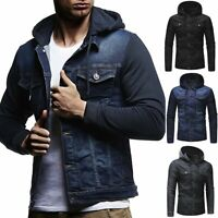 Men's Vintage Denim Slim Hoodies Jean Hooded Sweatshirt Coat Jacket Outwear Tops
