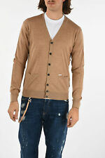DSQUARED2 men Knitwear Sz L Brown Sweater Long Sleeve Cardigan Brown L (Stand...