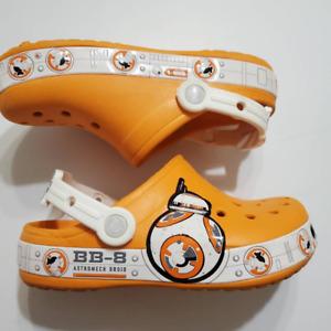 Star Wars Crocs Boys Bb8 Clogs Orange White Perforated Slip On Slingback J2