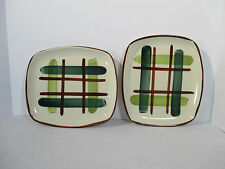 Blair Pottery Gay Plaid Trays Platters Green Rectangular Hand Decorated Set of 2