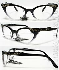 Rhinestone Cat Eye Sun Glasses 50s Pinup Vintage Style Black Clear K17B