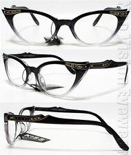 Rhinestone Cat Eye Sun Glasses 50s Pinup Vintage Style Black Clear K17B