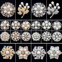 Wedding Bridal Bouquet Pearl Rhinestone Flower Brooch Pin Women Costume Jewelry