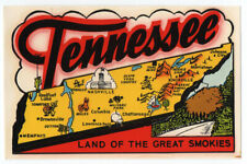 Souvenir TRAVEL DECAL ca.1950s-60s TN TENNESSEE State Map GREAT SMOKIES Impko?