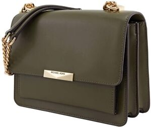 NEW Michael Kors Jade Olive GUSSET Leather Shoulder Handbag Purse NWT SMALL