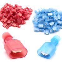 Nylon Flachstecker Flachsteckhülsen Kabelschuh Steckverbinder rot blau 6,3 mm