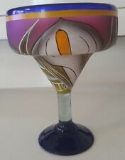 Mexican Handpainted Margarita Glass Handblown Calla Lilly Design Multicolor