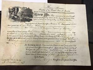 US President James Monroe signed 1821 LAND GRANT document Vellum Paper