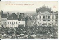 CPA 71- Autun - Panorama de l'avenue de la gare - jour de foire