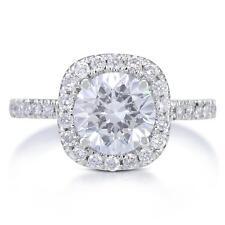 2.15ct Ct VS1/H Corte Redondo Resaltado Anillo de Compromiso Diamante 18k Oro