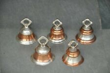 5 Pc Old Brass Small Copper & Silver Color Handcrafted Fine Quality Cow Bells