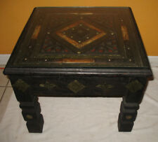 Vintage Moroccan Camel Bone and Etched Wood and Metal Table