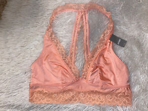 Aerie Bralette Long Line Crop Open Back Peach Floral Lace Satin Unlined Small S