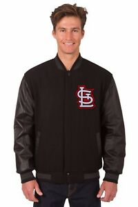St Louis Cardinals Wool & Leather Reversible Jacket with 2 Front Logos Black