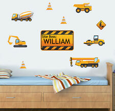 Personalised Construction Vehicles 10 Pack Wall Sticker JCB Truck Digger Tractor