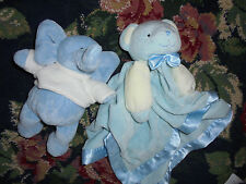 Pair of 2 baby boy snuggle toys blue elephant plush and sweet bear lovey guc