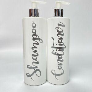Mrs Hinch Inspired Bath Pump Bottles White Gloss 500ml - Matt Silver