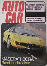 Autocar magazine 10/5/1973 featuring Maserati Bora road test, Mercedes, Austin