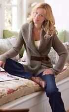 SOFT SURROUNDINGS Suede Buckle Wool Brown Collar Cardigan Sweater Sz M