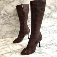 Christian Dior Boots, Leather High Heel boots, Knee High, Cannage UK4.5 (EU37.5)