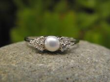 White Pearl Solitaire 5mm with CZ's & 925 SOLID Silver RING (Size 7, N 1/2)