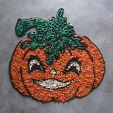"""Vintage Melted Popcorn Plastic Halloween Pumpkin JOL Kitsch Decoration 16"""""""