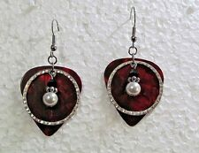 "White Pearl Drop on Red Background 1"" Dangle Silver Plated Wire Earrings"
