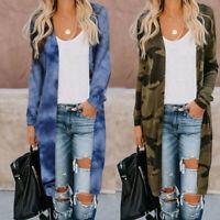 Women Camouflage Open Cardigan Tops Long Sleeve Knit Pockets Sweater Jacket Coat