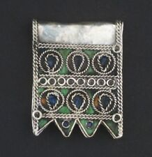 Traditional Enameled Berber Pendant 36mm Morocco African Large Hole Handmade