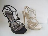da donna Nero / ORO SPOT ON Alto Scarpe con cinturino UK Sizes 3 - 8 f10171