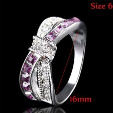 Fashion Purple Amethyst White Gold Filled Cross Finger Rings Gifts Jewelry 6
