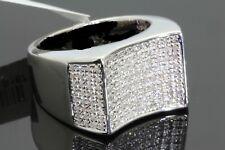 MENS 14K WHITE GOLD FINISH  2.00 CT DIAMOND ENGAGEMENT ANNIVERSARY PINKY RING