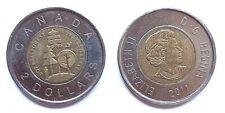 Monedas canadienses $2 2011 que representan selva boreal