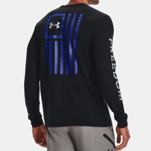 Under Armour Men's UA HeatGear Freedom New Flag Long Sleeve T Shirt. Black/Royal