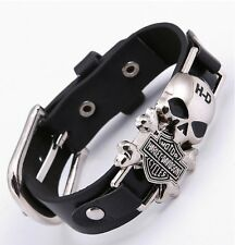 2017 Motor Harley Davidson Cycles Skull Rivet Men Bracelets Wide Leather