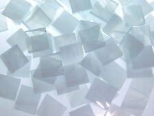 "100 1/2"" White and Clear Wispy Stained Glass Mosaic Tiles"