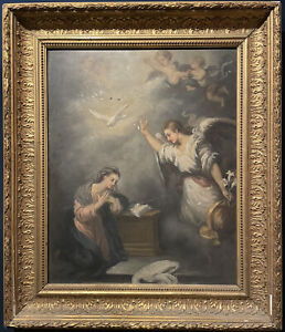 ANTIQUE FRENCH OIL PAINTING - THE ANNUNCIATION - ANGEL APPEARING TO THE VIRGIN