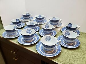 11 Heritage Blue By Spode Copeland Tea Cups & Saucers