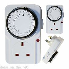 3 pin UK 24hr TIMER 24 ORE PROGRAMMABILE PRESA RETE MURO di plug-in interruttore UK