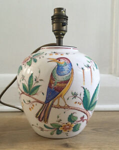 Attractive Vintage Portugese Handpainted Ceramic Lamp (Needs Wiring)