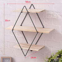 Wood Wall Shelves Shelf Retro Style Storage Rack Rhombus Metal Rack Home Decors