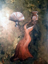 Isabella's Ball-Fanned Mask 24x36 Acrylic on Stretched Canvas by Nicole Justin