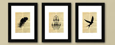 Vintage style prints FRAMED set of 3 wall art prints - Feather Chandelier Bird