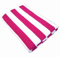 100% COTTON 75X150cm LARGE  STRIPE Hot Pink STRIPED POOL / BEACH TOWEL TOWELS