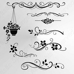Set of Flowers Borders Small Sizes A5 A4 A3 Reusable Stencil Shabby Chic / Deco4