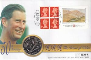 1998 H R H The Prince of Wales 50th Birthday £5.00 Coin FDC