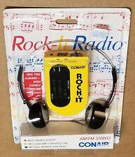 Conair Rock-It Portable Am/Fm Stereo Radio Tuner Walkman w/ Headphones Retro 80s