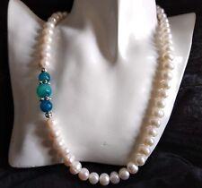 Collana Perle Barocche 9/10mm su un lato 3 Topazi color Cielo e Oceano-Argento