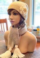 Knit Skinny Scarf Set Handmade Crochet Reversible Hat Slouchy Beanie Pin Beige