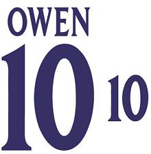 England Owen 2002 Nameset Shirt Soccer Number Letter Heat Print Football H